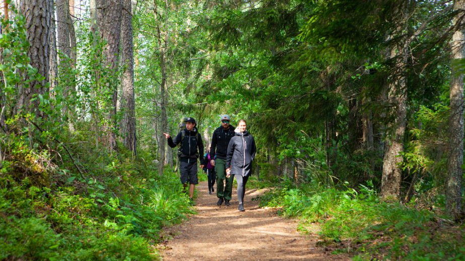 guide and guests walking through forest path in finnish national park