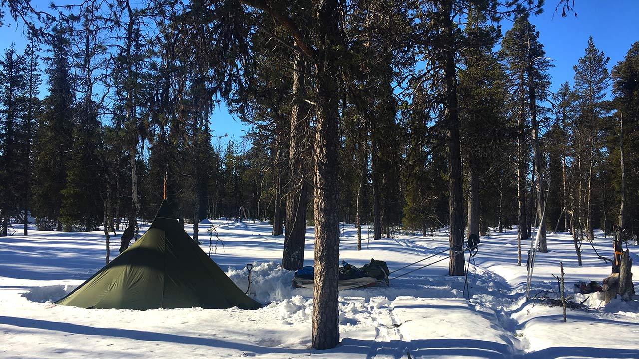 Snowy camping photo in lapland forest