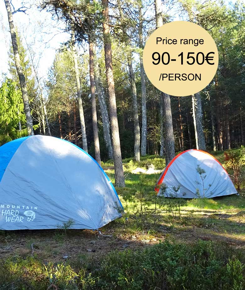 Tent set up in Finland with a price