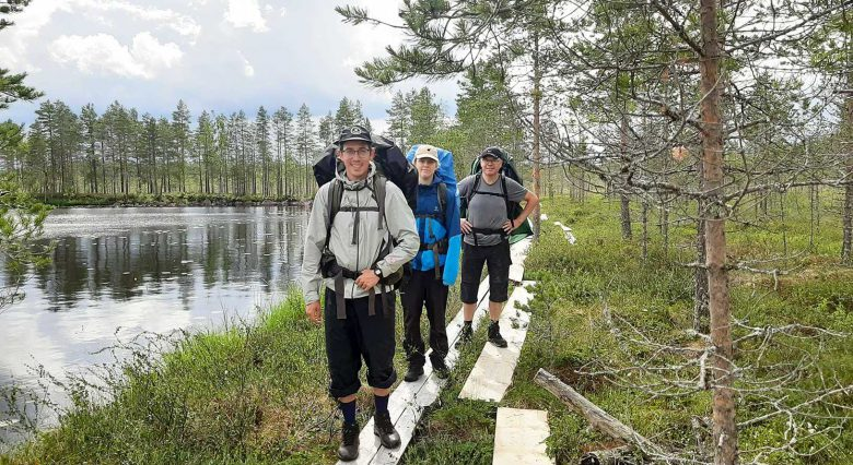 Hiking on duckboards in a Finnish national park