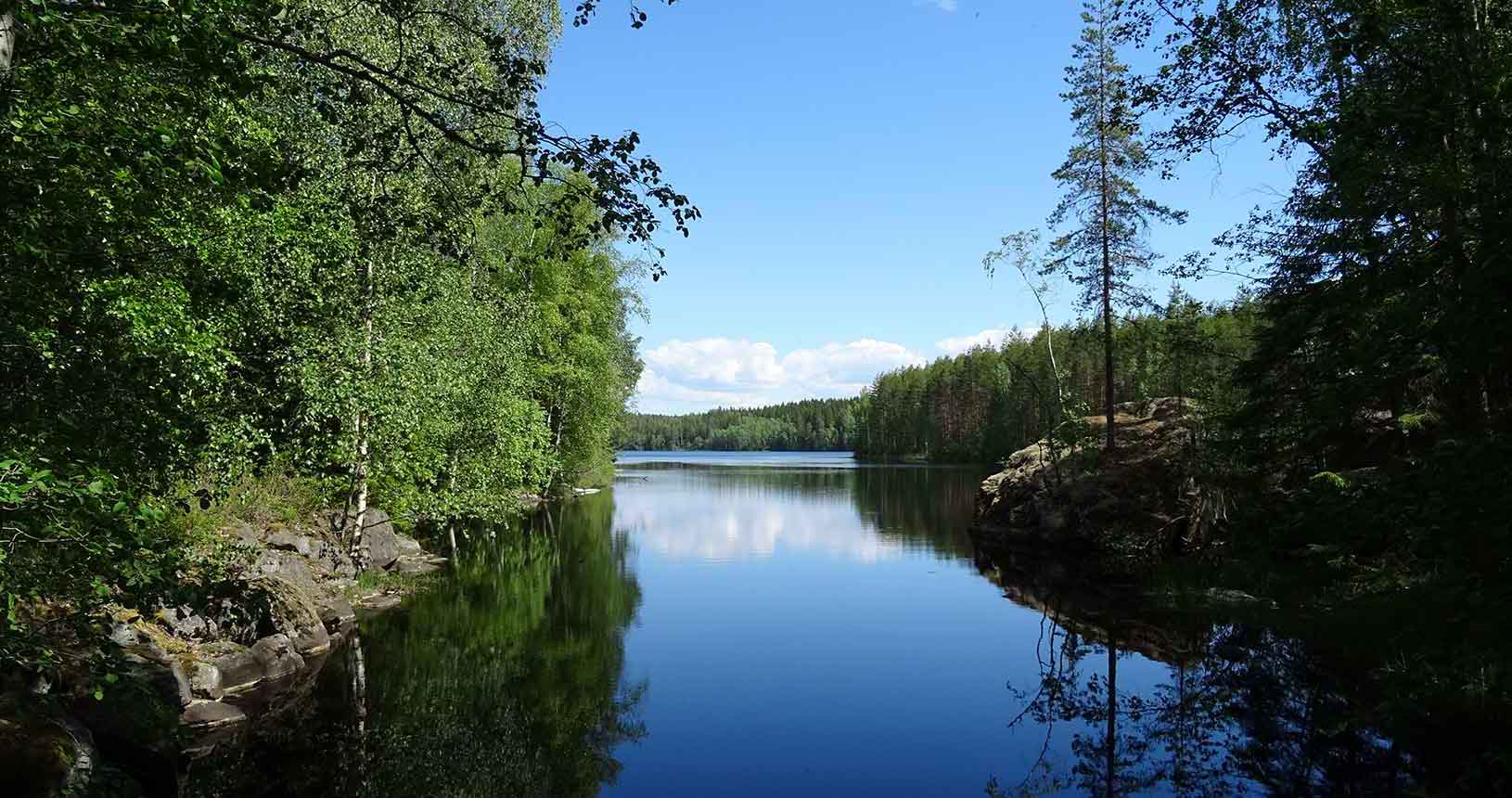 Blue lake in Finnish national park
