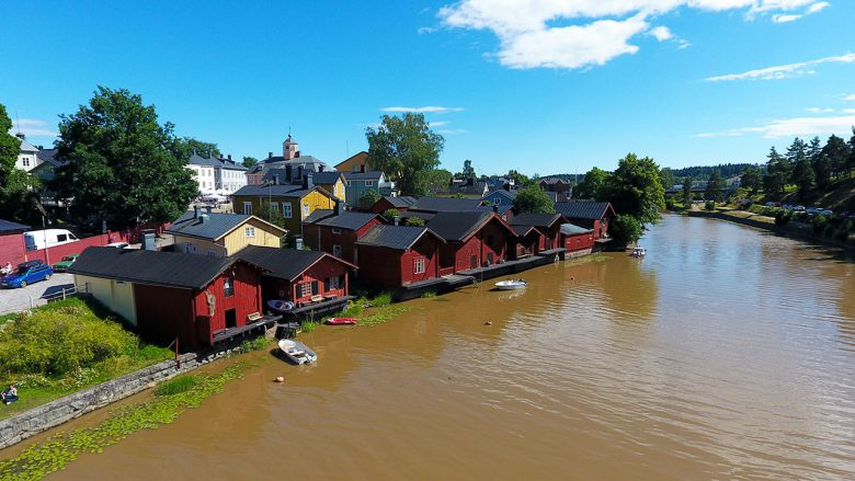 Old Porvoo river with red buildings
