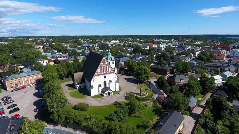 Ariel picture of Old Porvoo church