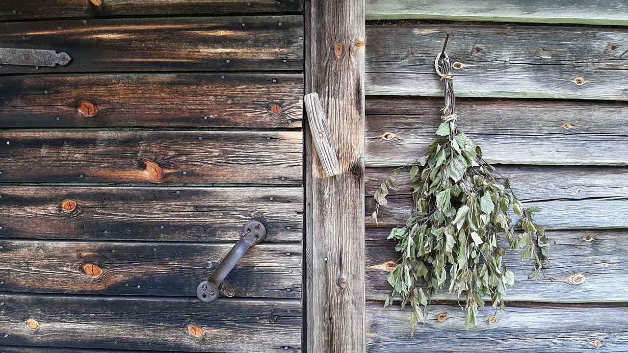 sauna door with a vihta