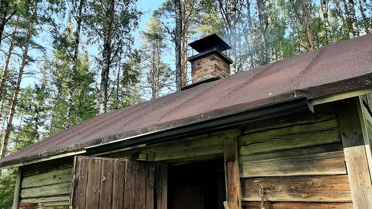 sauna with a chimeny in finland