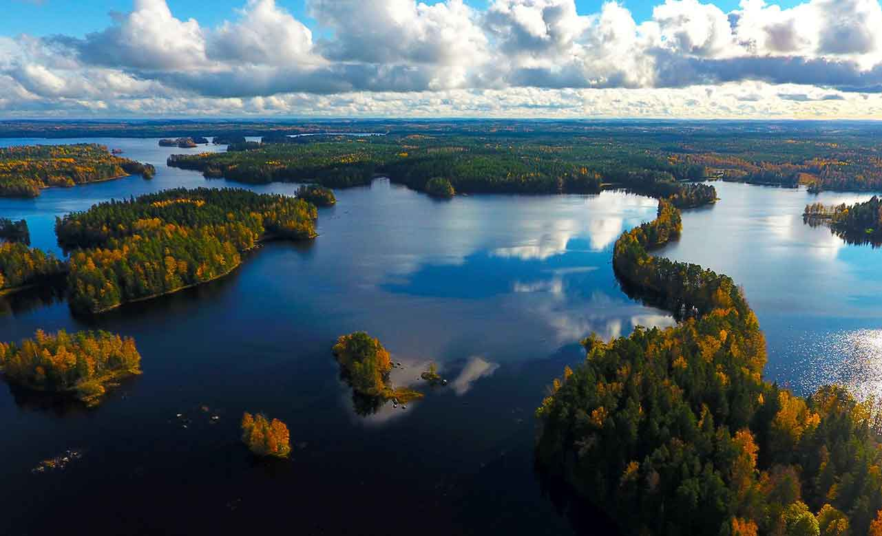ariel picture of autumn colours in a national park