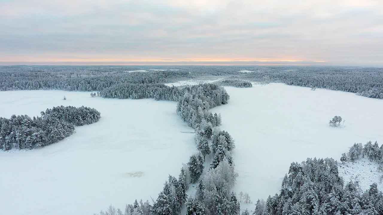 ariel photo of winter wonderland finland