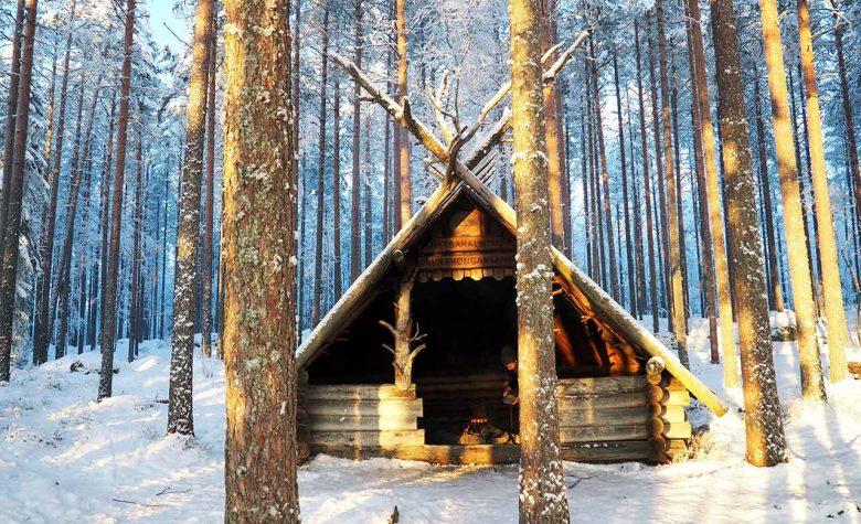 wilderness hut in finnish national park