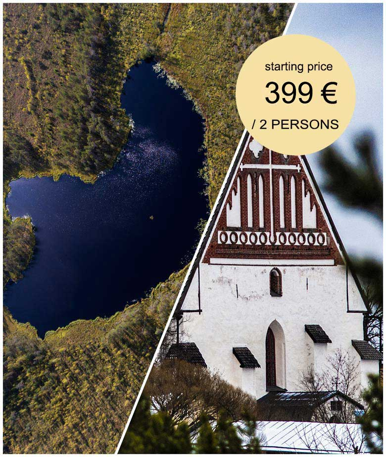 Porvoo and Helsinki National Park image cover of Porvoo cathedral and Small lake